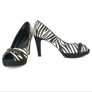 CHICO'S Zebra Print Leather Peep Toe Pumps